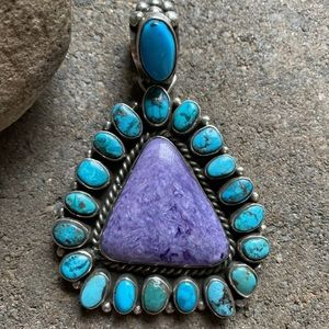 Jewelry - S.Silver Charoite Turquoise Cluster Pendant. C Y